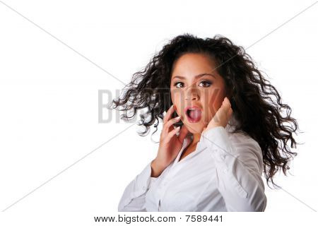 Surprised Business Latina Woman