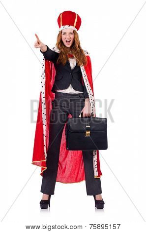 Woman businesswoman posing as queen isolated on white