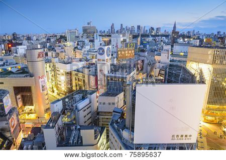 TOKYO, JAPAN - MARCH 31, 2014: Cityscape view over the Shibuya. Shibuya is a famed fashion center and nightlife area.