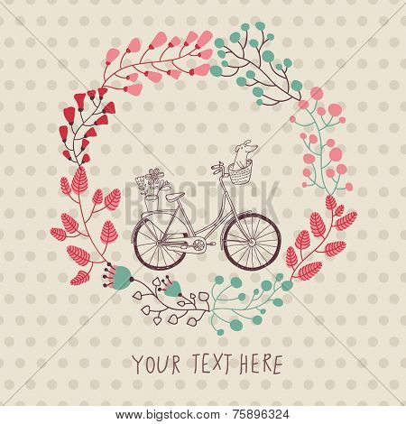 Stylish vintage background with bicycle and place for your text. Dachshund and plants in bike basket. Celebration card. Birthday concept. Spring garden wreath.