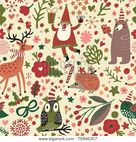 Cartoon Christmas seamless pattern for winter holidays designs in bright colors. Stylish New Year and Christmas background in vector. Holiday card with funny Santa, Owl, Bear, Hedgehog, bird and deer