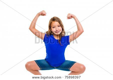 funny strong expression kid girl hands gesture squatting on white background