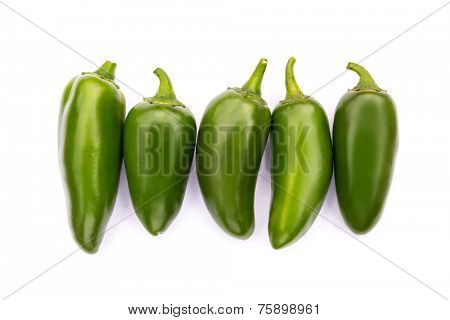 Chile Jalapeno hot chili pepper on white background