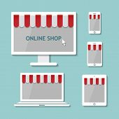 foto of awning  - online shop on computer laptop tablet and smartphone with awnings in flat design style - JPG