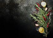 foto of italian food  - Bunch of spices on dark vintage background - JPG