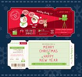 stock photo of rudolph  - Vector Christmas Party Cartoon Ticket Card Design Template - JPG