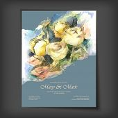 picture of impressionist  - Hand Drawn Vector Watercolor Roses Wedding Invitation - JPG