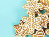 picture of christmas cookie  - Christmas Gingerbread Cookies Border over Blue Background - JPG