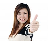 Beautiful Woman Giving Thumbs Up Sign