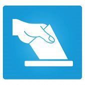 picture of pronunciation  - vote symbol in blue square button - JPG