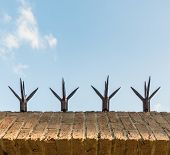stock photo of spike  - Closeup of the top of a masonry wall with sharp spikes for security - JPG