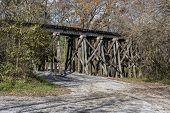 stock photo of trestle bridge  - Old Railroad Trestle At Ozone Falls In Tennessee - JPG