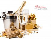 pic of champagne glasses  - Glasses of champagne with gifts and balls on white background - JPG