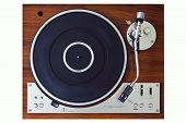 stock photo of analogy  - Stereo Turntable Vinyl Record Player Analog Retro Vintage Top View - JPG
