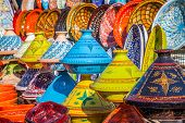 stock photo of tagine  - Tajines in the market Marrakesh Morocco Afrika - JPG