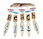 stock photo of chimes  - beach wind chime on white background - JPG