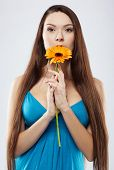 Beautiful Girl With Gerbera