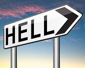 stock photo of sinner  - welcome to hell evil sinner go to the devil disaster  - JPG