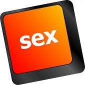 stock photo of pornographic  - Sex button on laptop keyboard keys - JPG