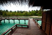 pic of chalet  -  Wooden chalets over water in tropical island - JPG