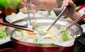 image of wagyu  - Party family with hot sukiyaki in restarant - JPG