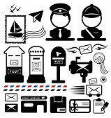 stock photo of postman  - Postman icon set - JPG