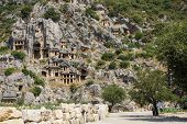 picture of rock carving  - Lycian rock cut tombs carved into the hillside of Myra Turkey