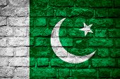 stock photo of pakistani flag  - flag of Pakistan or Pakistani banner on brick texture - JPG