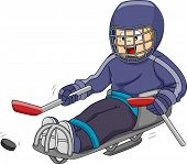 foto of paralympics  - Illustration Featuring a Sledge Hockey Player Moving the Puck Across the Ice - JPG