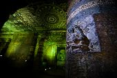 image of ellora  - Ancient cave temple in Ellora India - JPG
