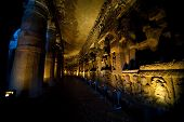 picture of ellora  - Interior of an ancient cave temple in Ellora India - JPG