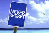 pic of repentance  - Never Regret sign with a beach on background - JPG