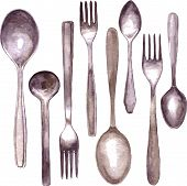 picture of spooning  - set of different spoons and forks drawing by watercolor - JPG
