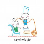 foto of psychologist  - psychologist is on a stack of books and pulls the threads of the patient - JPG