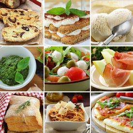 image of food pyramid  - collage menu Italian food pyramid  - JPG