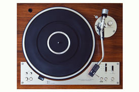picture of lp  - Stereo Turntable Vinyl Record Player Analog Retro Vintage Top View - JPG