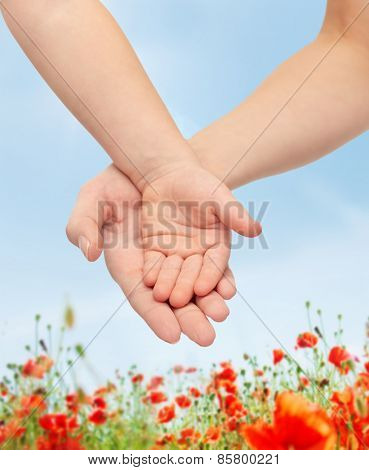 people, charity, family, children and advertisement concept - close up of woman and little child hands holding empty palms over blue sky and poppy field background