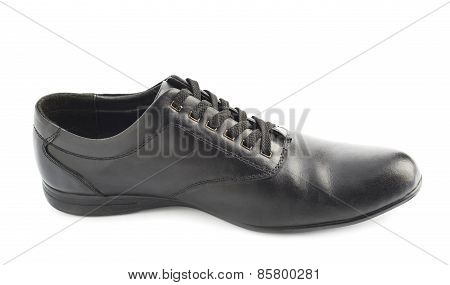 Classic black leather shoe isolated