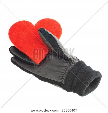 Red heart in black leather gloves