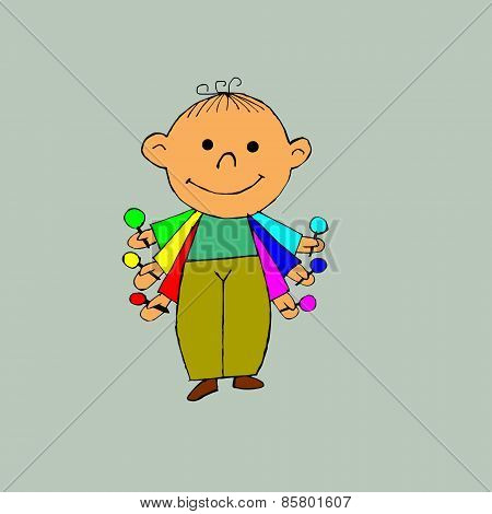 A Child With Colorful Candies.eps