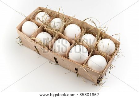 Pack Of Ten White Eggs Isolated