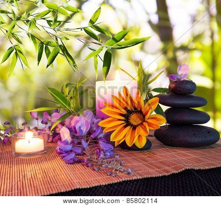 massage stones with bamboo background, daisies and wisteria
