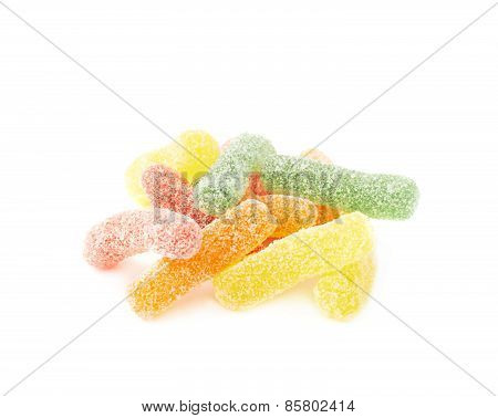 Sugar coated jelly worms candy sweets