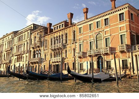 Venetian Houses And Gondola On The Grand Canal, Venice, Italy.