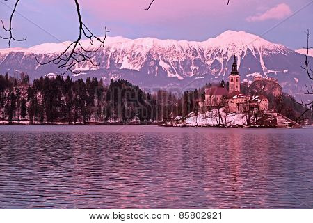 Bled Lake and island church, Slovenia.