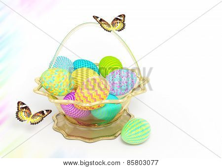 Decorate Basket With Colorful Easter Eggs