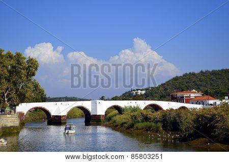 Silves, bridge over the river Arade in Portugal