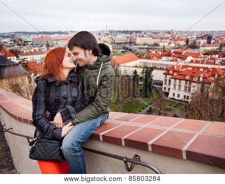 Young Couple In Love. Prague, Czech Republic