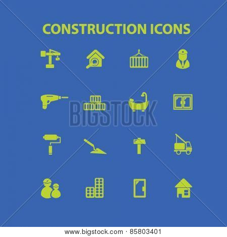 construction icons, signs, illustrations concept design set on background, vector