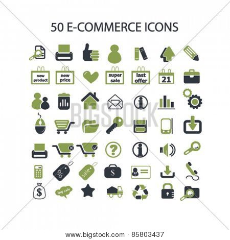 50 shop, ecommerce, retail, internet shop icons, signs, illustrations concept design set on background, vector